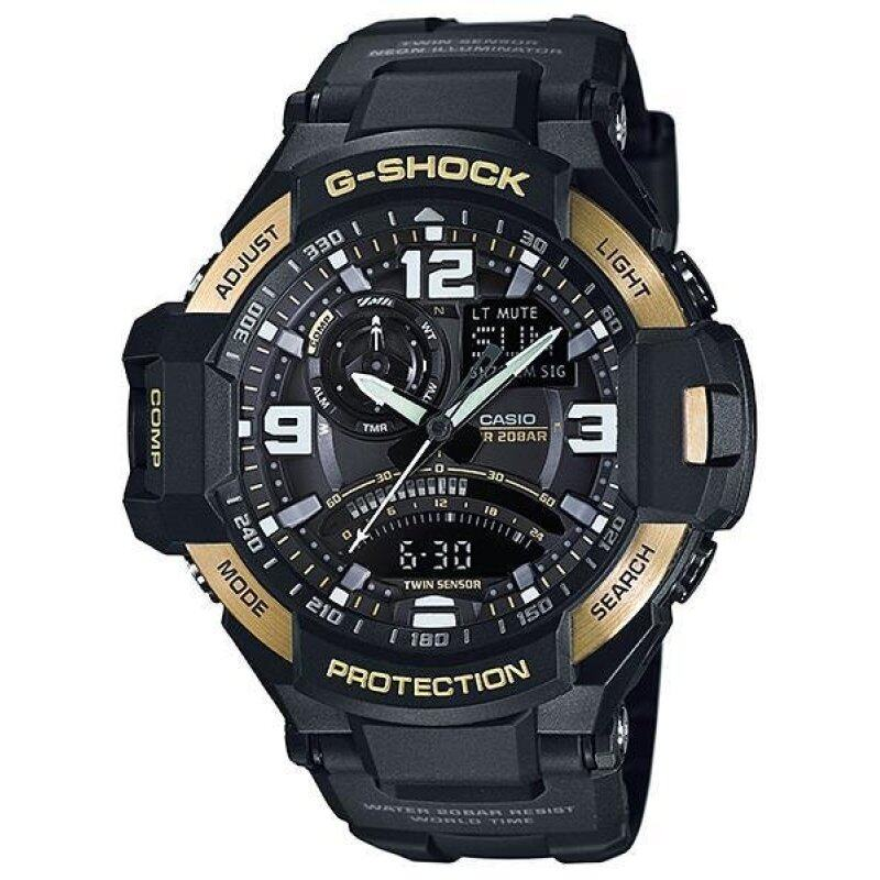 Casio G-Shock GA-1000-9G Compass Thermometer World time Gold Black Resin Watch Malaysia