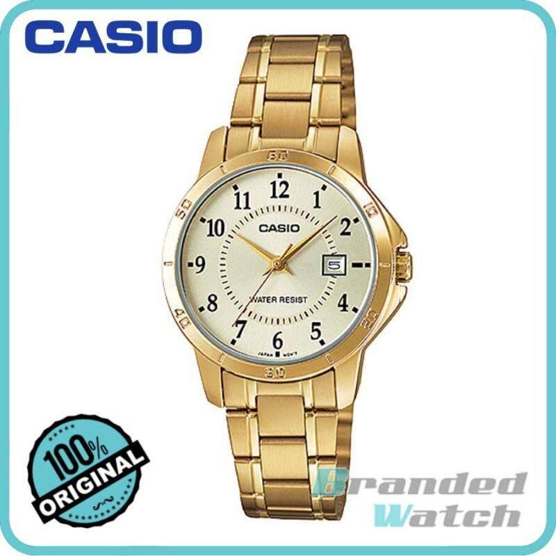 Casio LTP-V004G-9BUDF Womens Analog Date Gold Watch LTP-V004G-9B Malaysia