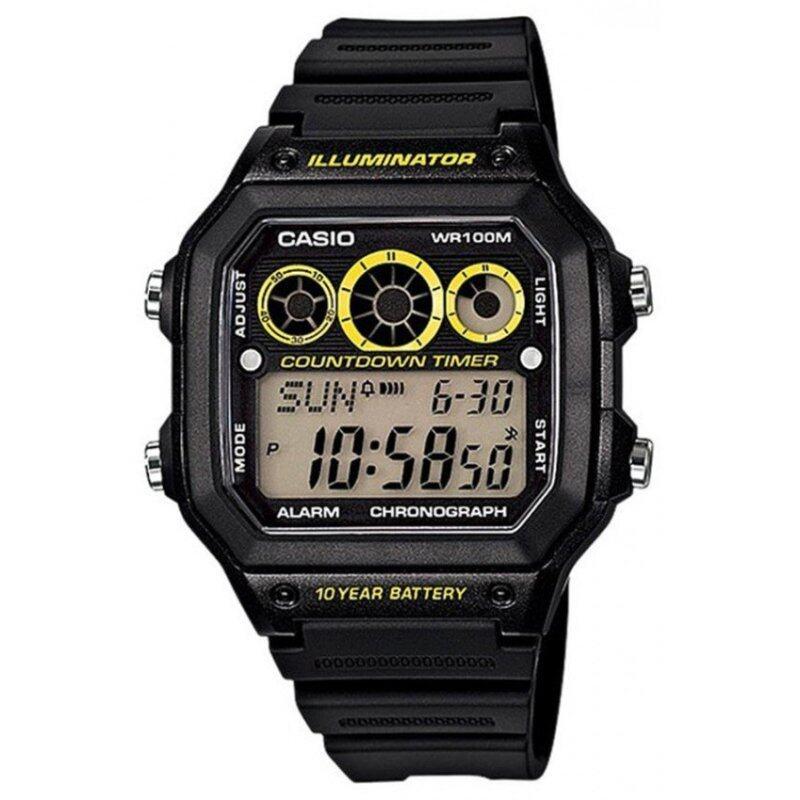Casio Men Yellow Black Resin Bracelet Watch AE-1300WH-1AVDF Malaysia