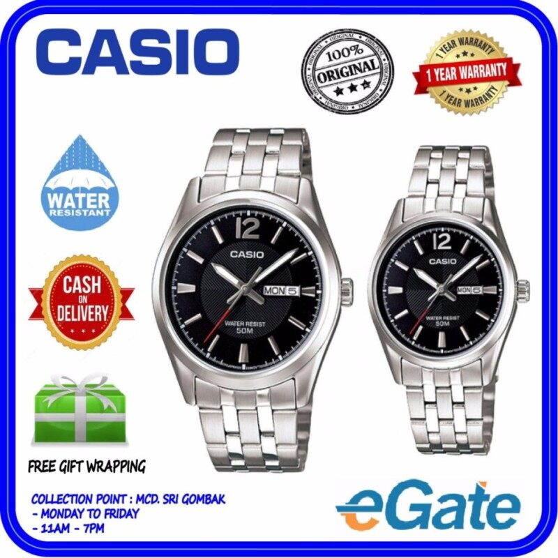 Casio MTP-1335D-1AV & LTP-1335D-1AV Analog Couple Watch - Silver Black Casual Original Malaysia