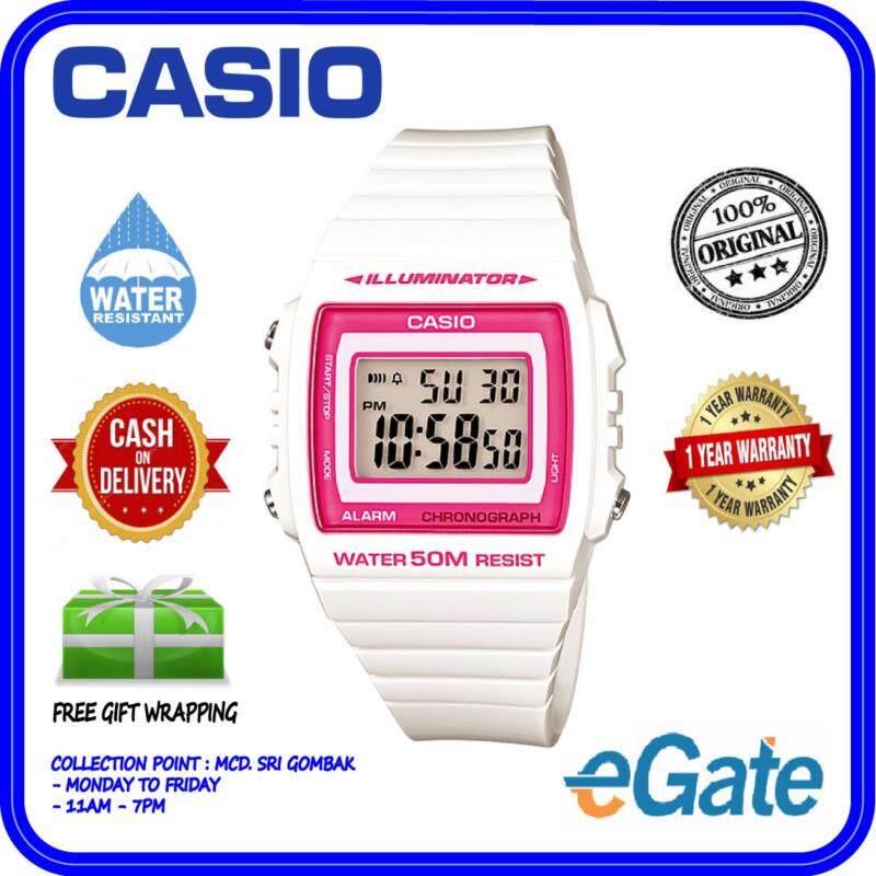 Casio W-215H-7A2V Digital Unisex Watch - White Casual Original Malaysia