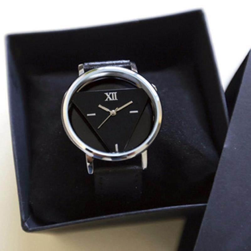 Chic Hollow Triangle Multi-rhinestones Faux Leather Band Quartz Wrist Watch Gift Malaysia