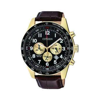 Citizen Watch Chronograph Brown Stainless-Steel Case Leather Strap Mens Japan NWT + Warranty AN8162-06E