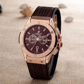 Harga Classical HUBLOT Brand Sport Wrist Watch Men's Luxury FashionBusiness Watch(Brown)