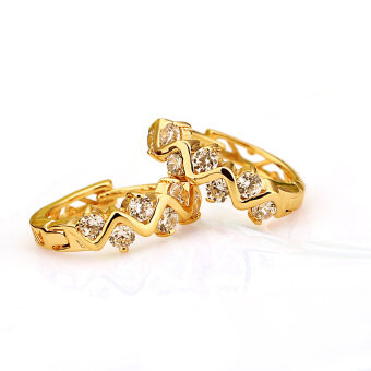 Clear Crystal Zircon 18K Gold Plated Wave Hollow Hoop Earrings Jewelry Gift for Women Lady