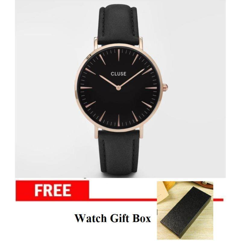 Cluse Classic Unisex Quartz Japan Movement Rose Gold Case with Black Strap and Black Dial Background Malaysia