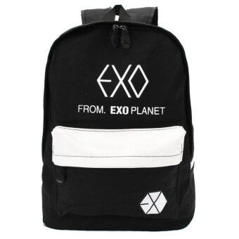 Harga Colorful EXO Fashion Canvas Backpacks Rucksacks Student School Bags Travel Outdoor Latop Bag Black