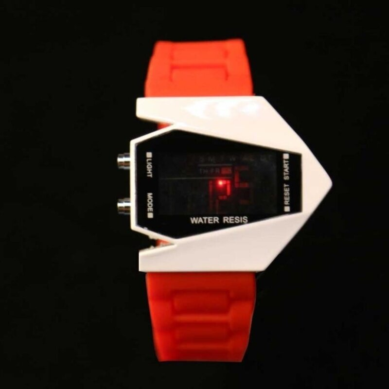 Cool Men Airplane Pilot LED Flashlight Alarm Rubber Strap SportWatch Red Malaysia