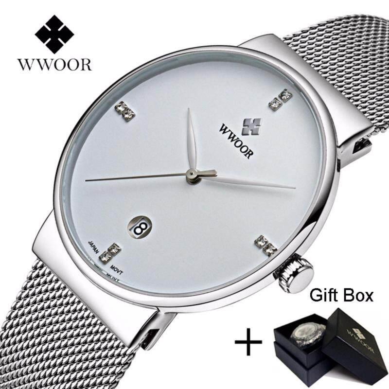Coowalk Fashion Luxury Men Watches Stainless Steel Mesh Strap Quartz Watch Ultra Thin Dial Clock Birthday Gift Valentine Lover Gift Men Casual Quartz Watch (White) Malaysia