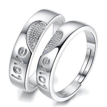 Harga Couple Ring Jewellry 925 Silver Adjustable Ring 2 PCS E009