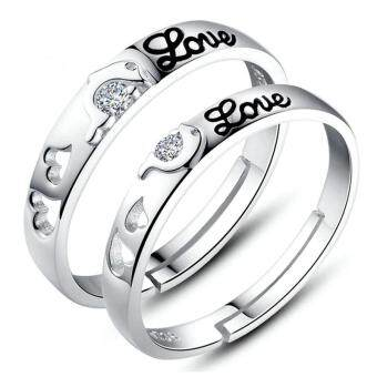 Harga Couple Ring Jewellry 925 Silver Adjustable Ring 2 PCS E011