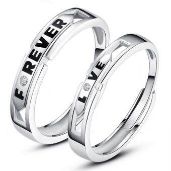 Harga Couple Ring Jewellry 925 Silver Adjustable Ring 2 PCS E023