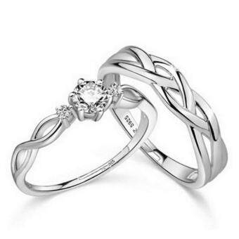Harga Couple Ring Jewellry 925 Silver Adjustable Ring 2 PCS E028
