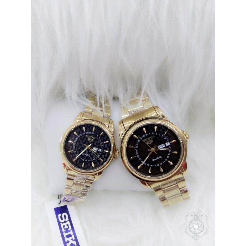 Couple Watch Seiko 5 Gold with Black Dial Malaysia