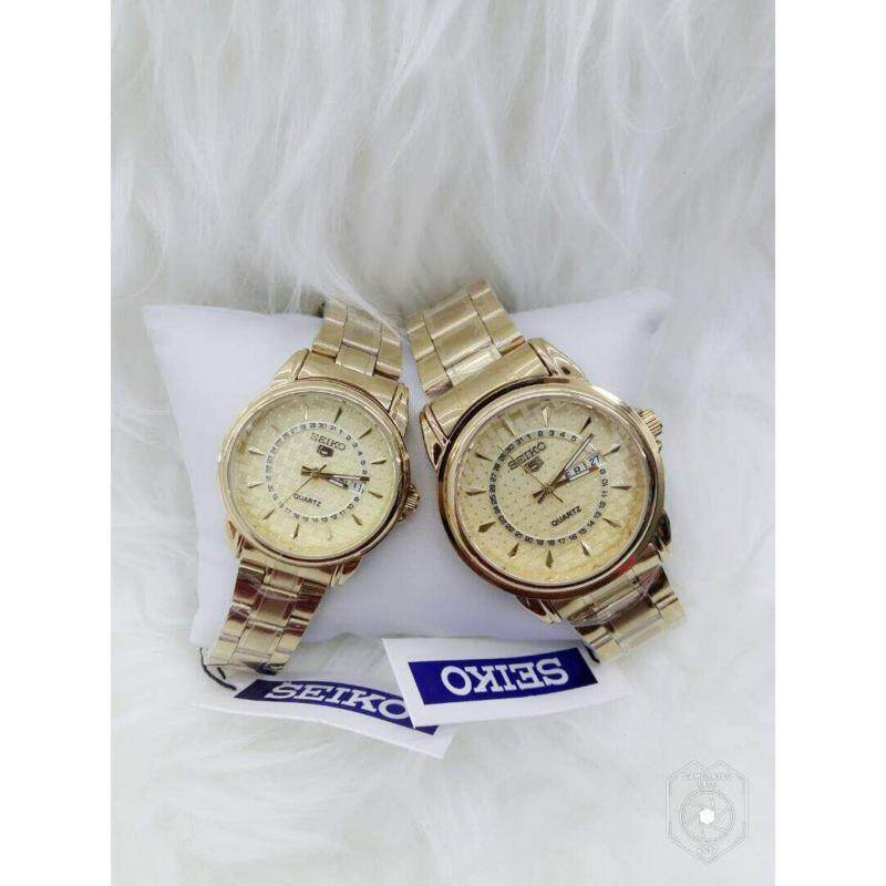 Couple Watch Seiko 5 Gold with Gold Dial Malaysia