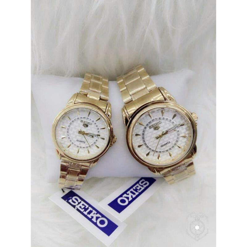 Couple Watch Seiko 5 Gold with White Dial Malaysia