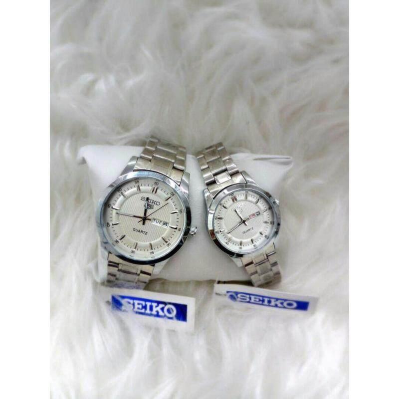 Couple Watch Seiko 5 Silver Strap & Dial Malaysia