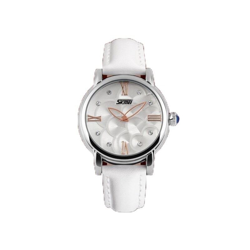 CURREN SKMEI 9095 Flower Diamond Women Leather Water Resistant Watch Quartz-WHITE Malaysia