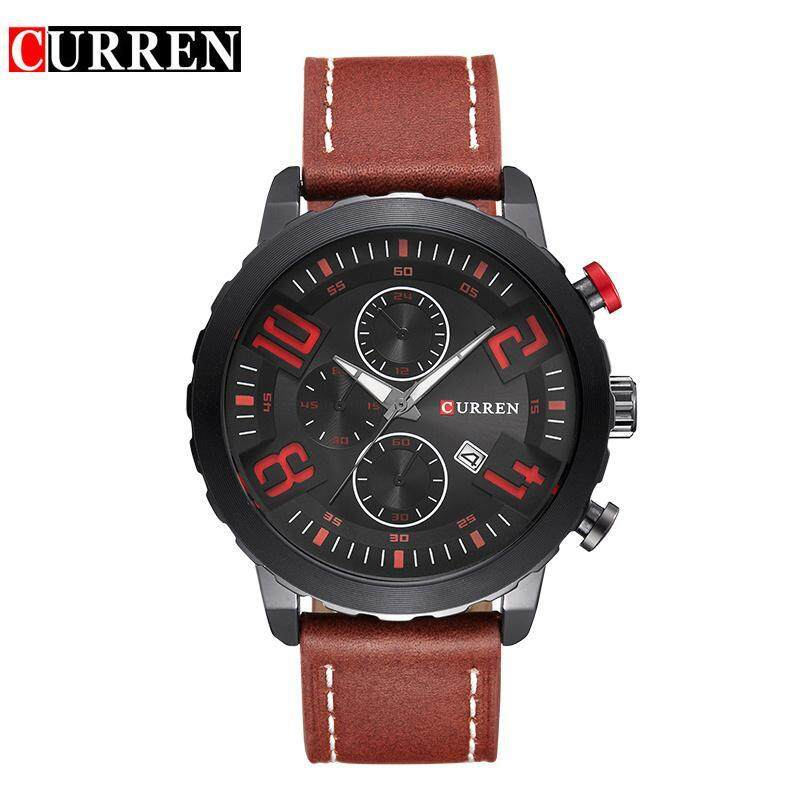 Curren Watches Men Top Brand Luxury Cow Leather Strap Quartz-Watches Sport Mens Watches Waterproof Relogio Heren Hodinky 8193 Malaysia
