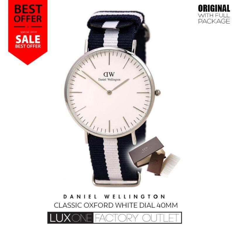 Daniel Wellington Classic Glasgow Eggshell White Dial Blue and White Nylon  40mm Silver Watch Malaysia