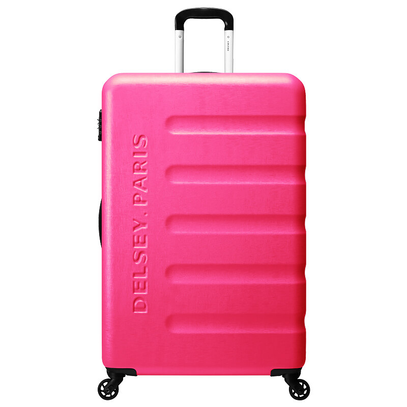 "Delsey Anjou trolley 25"" inch hard case 4 wheel luggage - Pink ..."