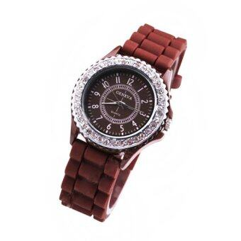 Diamond Girls Silicone Jelly Quartz Analog Sports Wrist Women Watch(Coffee)