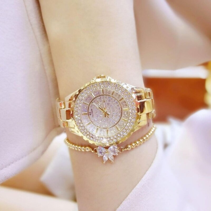 Diamonds Fashion Casual Women Quartz Watch Luxury Gold Stainless Steel Brand Rhinestone Dress Lady Watch (Gold) Malaysia