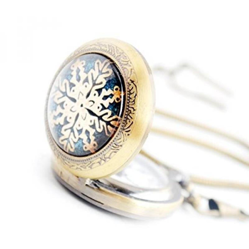 [DNKR]Christmas Pocket Watch Series - Boshiya Vintage Quartz Pocket Watches Dual Analog Steam Snawflake Pocket Watch Bronze with Chain Malaysia