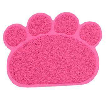 Dog Cat Paw Shape Dish Bowl Feeding Food Placemat PVC Door Mat for Pet Color:Pink Specification:40cm*30cm