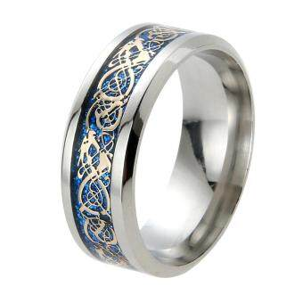 Harga Dragon Ring Inlaid Silver Fashion Stainless Steel Ring(Blue)-11