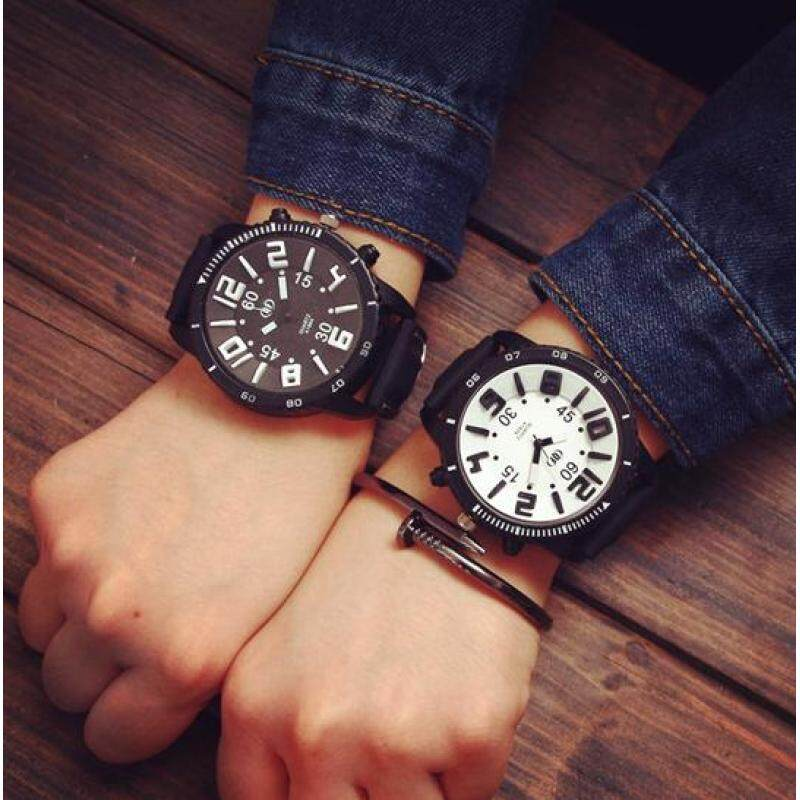 DZ-set of two-South Korea Harajuku large dial of male and female students QF neutral wind tide table Korean fashion personality couple watches (black and white) Malaysia