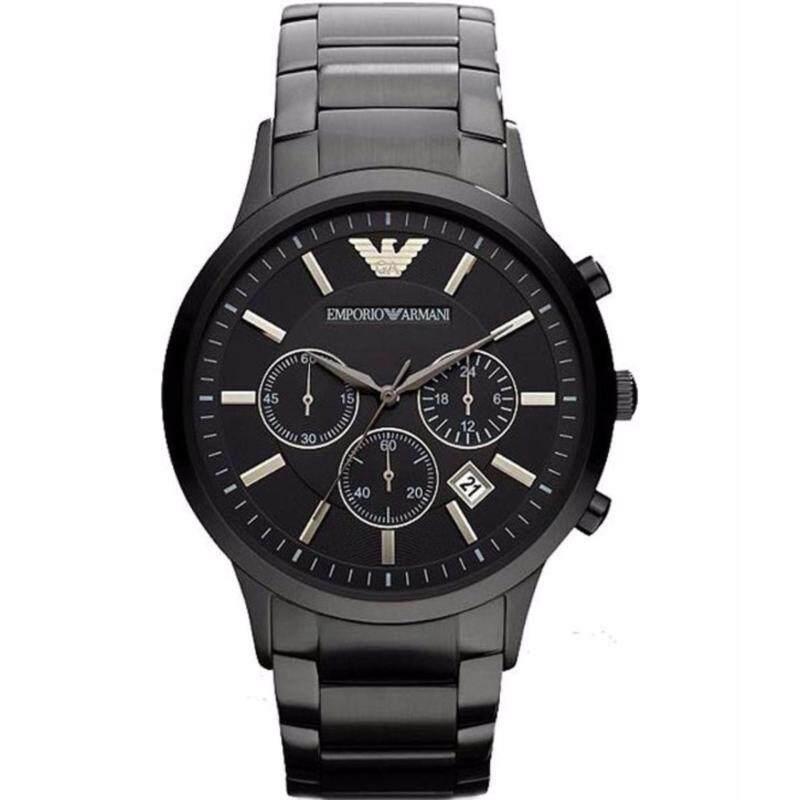 Emporio Armani Mens Chronograph Black Ion-Pleated Watch AR2453 Malaysia