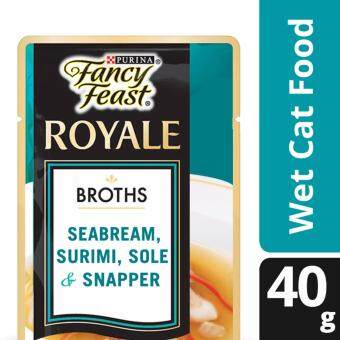 FANCY FEAST(R) BROTHS with Seabream, Surimi, Sole & Snapper Wet Cat Food Pouch (1 pack of 40g)