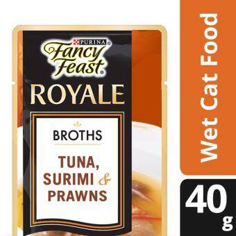 FANCY FEAST(R) BROTHS with Tuna, Surimi & Prawns Wet Cat Food Pouch (1 pack of 40g)