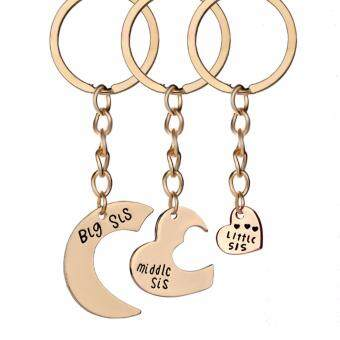 Fancyqube 1/3PC Family Charm Heart Big Middle Little Sis Sister KeyChains Ring Fob Keyring