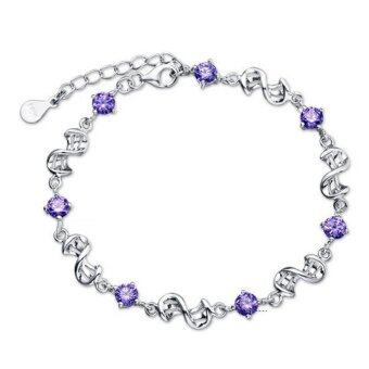 Harga Fancyqube Love Apartment 925 Sterling Silver Bracelet Red BeanPurple Crystal Chain Bangle Purple