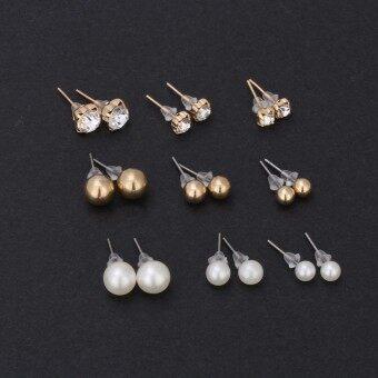 Fantastic Flower Crystal Stud Earrings Cute Ball Rhinestone Pearl Earring Set Pretty Jewelry Love Classics Earrings Retro Women -Silver - 4