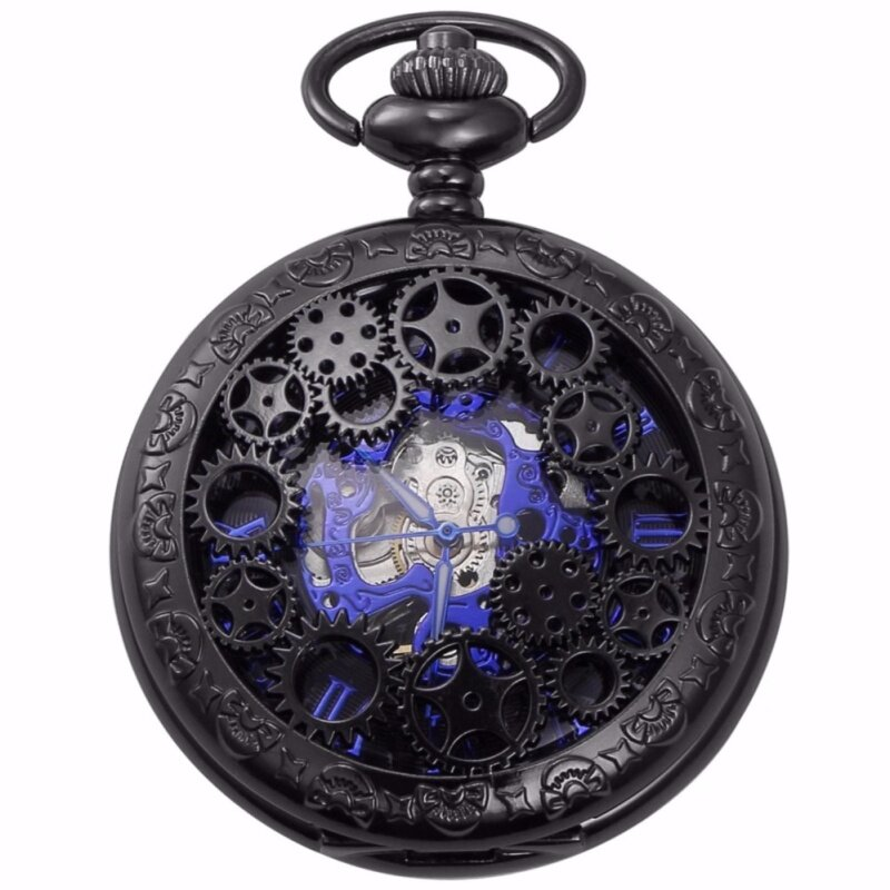 Fashion Blue Analog Hollow Case Men Mechanical Movement Pocket Watch With Long Chain Steampunk Hand Winding Clock Gift WPK219 Malaysia