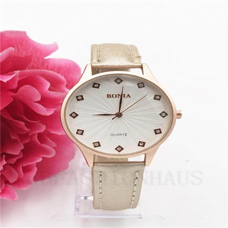 Fashion-BONI Fashion Simple Quartz Watch PU Leather(Rose gold)-BEIGE Malaysia