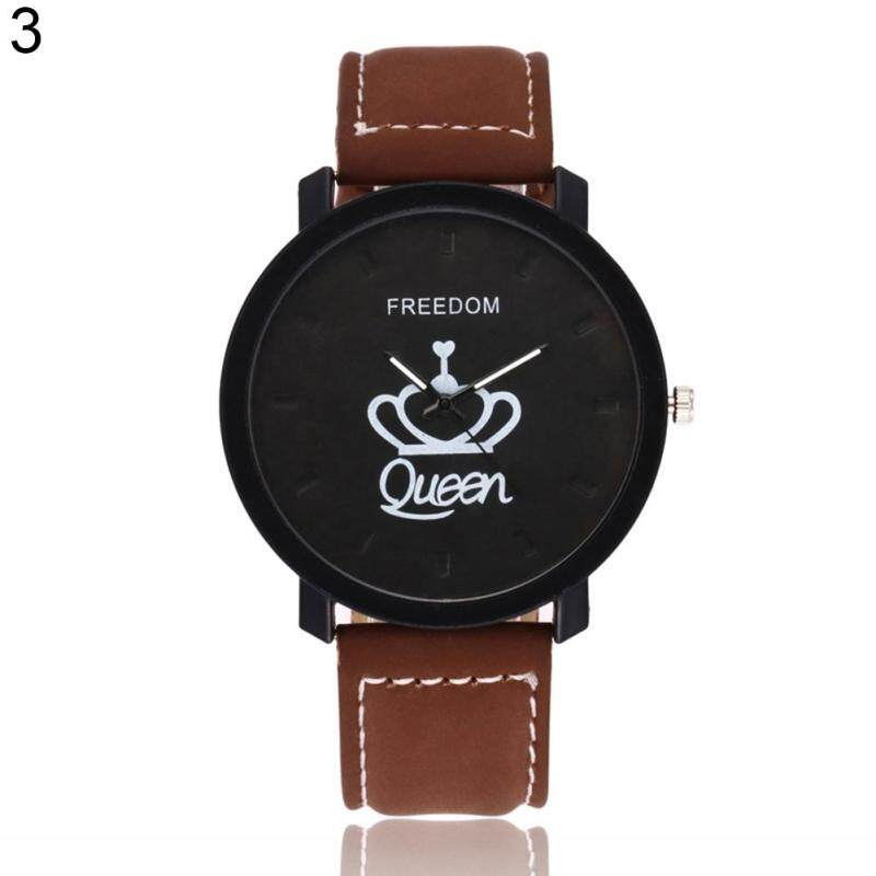 Fashion Couple Queen King Crown Fuax Leather Quartz Analog Wrist Watch Valentine Gift Queen (Black Dial + Black Band) Malaysia
