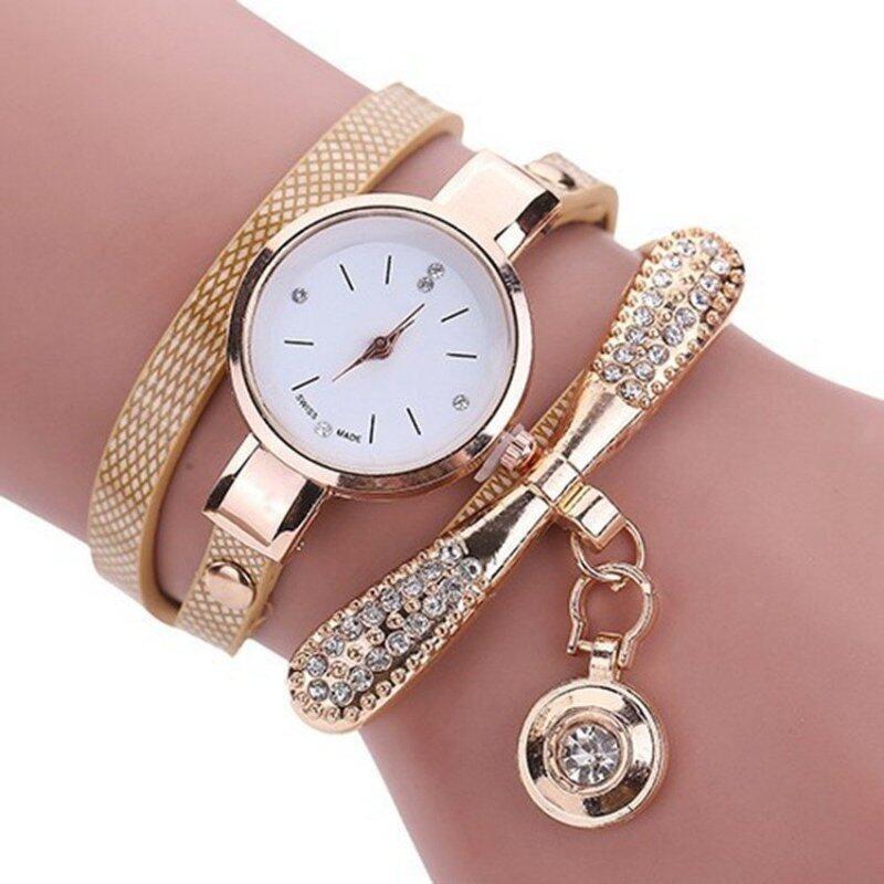 Fashion Elegant Women Diamond Bracelet Wristwatches Lady Pendant Quartz Watches(Beige) Malaysia