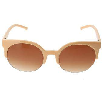Harga Fashion Plastic Trendy Hot Chic Half Frame Cat Eye RoundSunglasses(Not Specified)