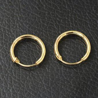 Fashion Sterling Silver Gold Endless Hoop Rings Lip Nose Ear StudsEarrings Gold 1.55*0.3cm
