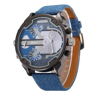Harga Fashion Watches Men Double Movt Numbers and Strips Hours MarksLeather Band Quartz Sports Watches Military Watch(blue)