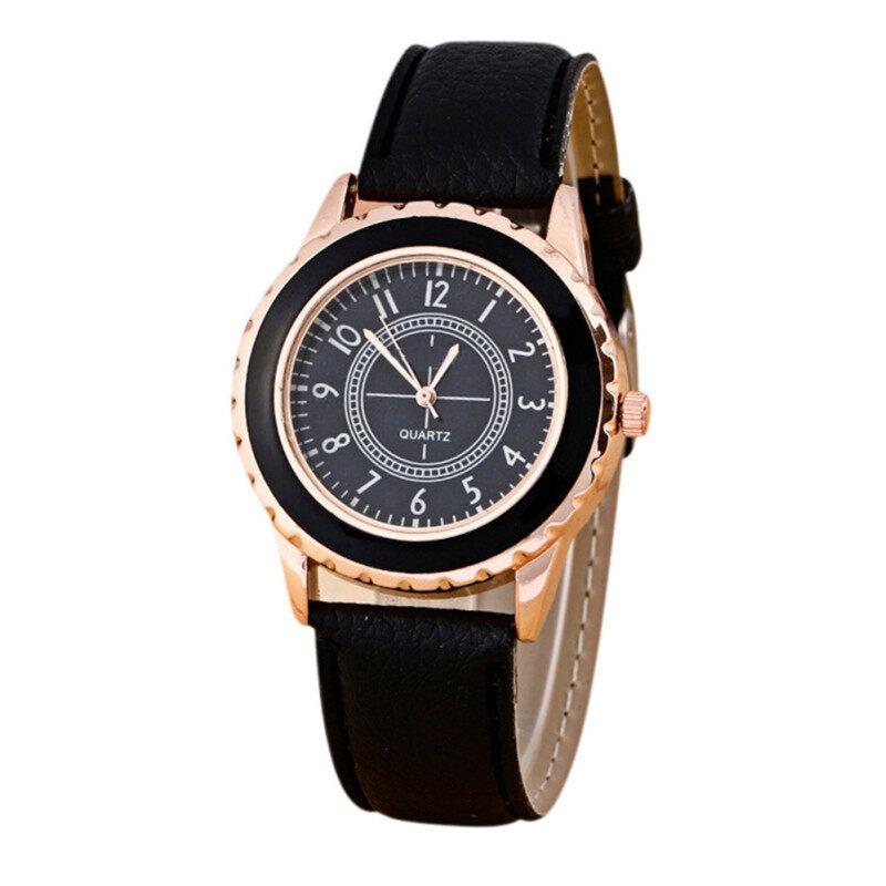 Fashion Womens Faux Leather Band Strap Analog Quartz Wrist Watch Black Malaysia
