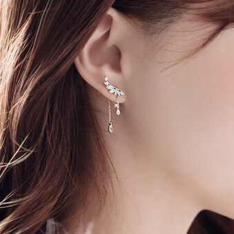 Harga Female temperament after hanging-silver ear acupuncture ear jewelrysilver earrings