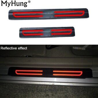 For subaru impreza levorg legacy outback XV forester wrx brz Reflective car door sill scuff welcome pedal threshold carbon iber Protect Stickers 4pcs car styling
