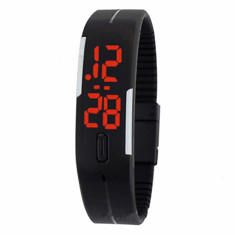 Foreign Trade Explosion Models Silicone LED Students Electronic Bracelet Watch (Black) Malaysia