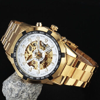 Forsining Stainless Steel Case and Leather Strap Men Male Fashion Business Sport Casual Skeleton Automatic Mechanical Wrist Watch - GOLD + White
