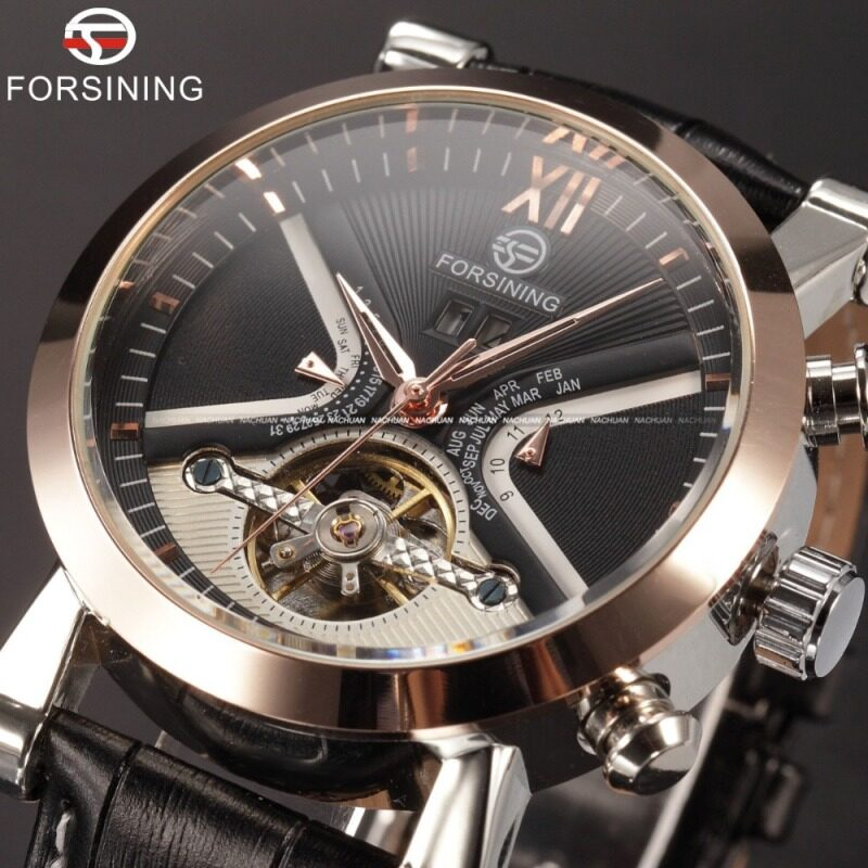 FORSINING Stainless Steel Case Leather Strap Men Male Fashion Business Sport Casual Army Military Skeleton Automatic Mechanical Wrist Watch - Gold Case + Black Dial Malaysia